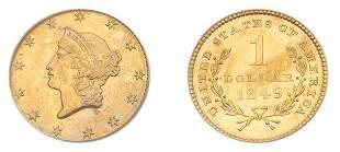 1849 $1 Liberty Head, Open Wreath