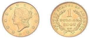 1849 $1 Liberty Head, Close Wreath