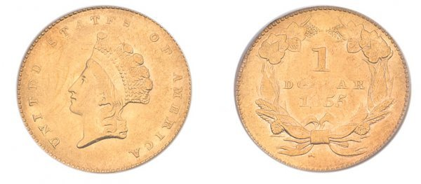 1011: 1855 $1 Indian Head, Type 2.