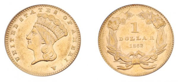 1012: 1862 $1 Indian Head, Type 3.