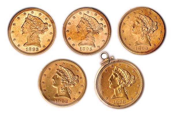 1020: $2 1/2 Liberty Head, Five Gold Coins