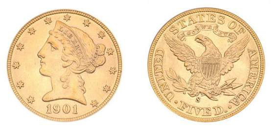 1048: 1901 S $5 Liberty Head