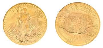 1085: 1907 $20 St. Gaudens, No Motto