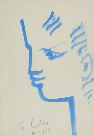 22: Jean Cocteau French, 1889-1963 Tete D'Orphee