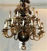 357: Dutch Baroque Style Brass Two-Tier Eighteen-Light