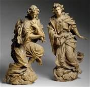 2150: Pair of German Baroque Painted Wood Figures of An