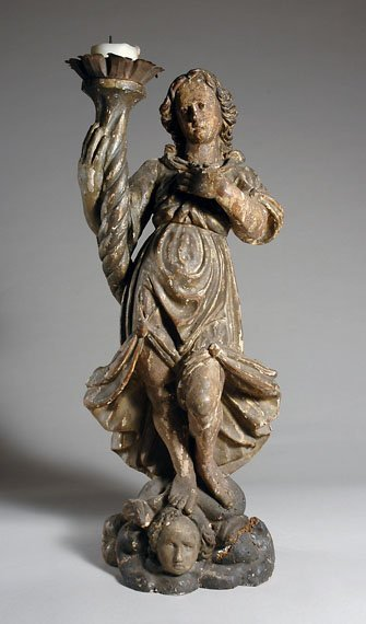 2195: Continental Carved Gilt-Wood Figural Pricket Cand