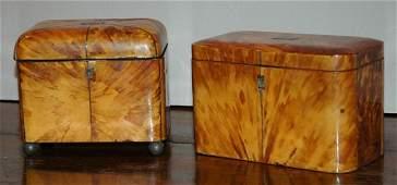 2363: Two Late George III Tortoise Shell Tea Caddies