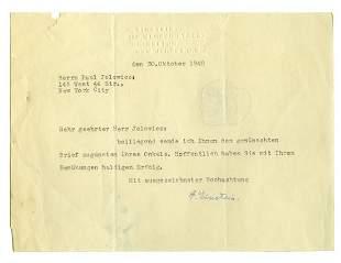 EINSTEIN, ALBERT Typed letter signed