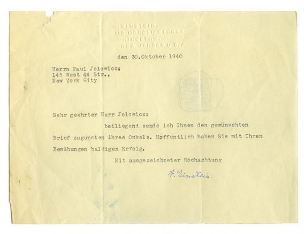 3007: EINSTEIN, ALBERT Typed letter signed