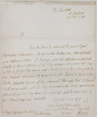 """HOWE, RICHARD, EARL Autograph letter signed (""""How"""