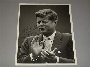 KENNEDY, JOHN F. Photograph signed and inscribed