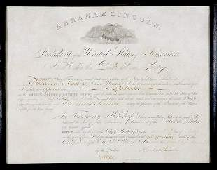 LINCOLN, ABRAHAM Document signed, one page, 4to,