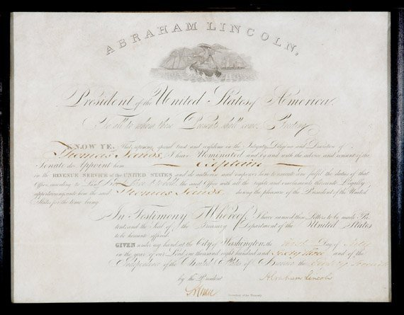 3012: LINCOLN, ABRAHAM Document signed, one page, 4to,