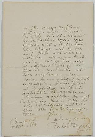 WAGNER, RICHARD Autograph letter signed, two page