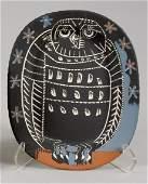 3228 Pablo Picasso MAT OWL  Painted white ceramic plat
