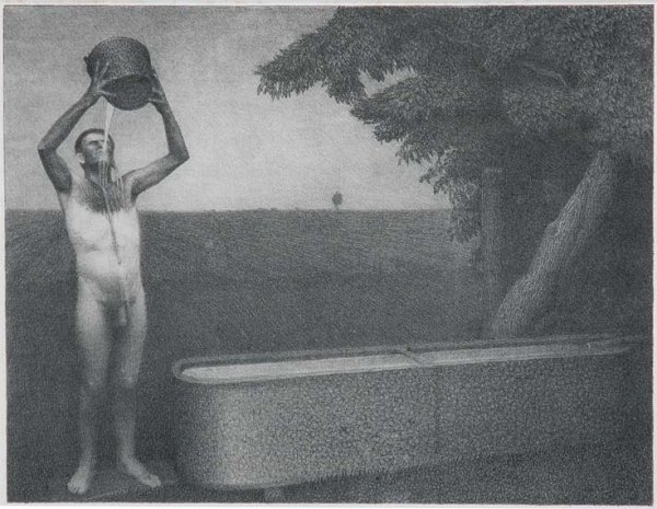 3385: Grant Wood SULTRY NIGHT Lithograph