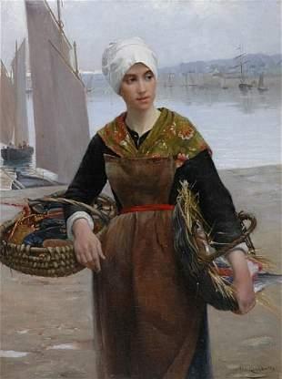 Alfred Guillou French, 1844-1926 Jeune Bretonne