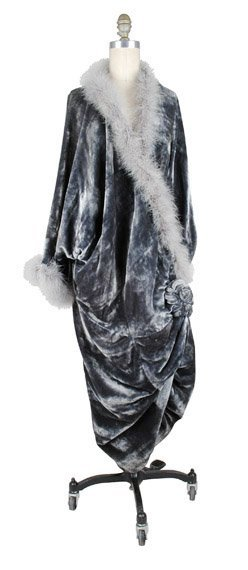 1017: Steel Grey Panne Velvet Opera Coat