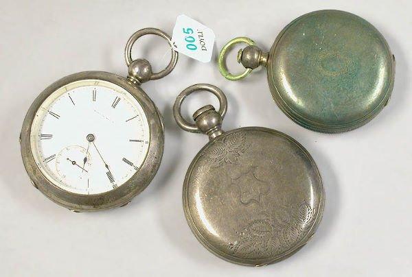 5: Three Nickel Silver Pocket Watches