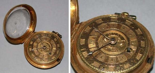 13: Gold Open Face Fusee Watch