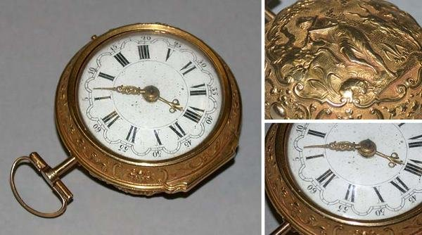 16: Gold Repousse Pair Case Watch