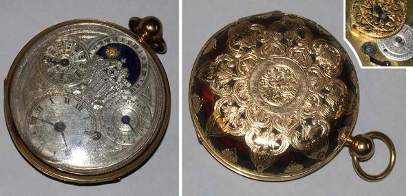 24: Gold and Tortoise Shell Open Face Calendar Watch