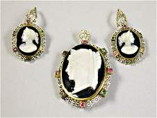 571: Cameo Pin and Pair of Earrings