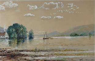 Edmund Darch Lewis 1835-1910 Sailing Along a Rive