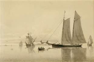 William Bradford 1823-1892 Schooner Yacht 'Bessie