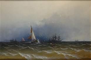 James Hamilton 1819-1878 Channel Scenery - Shower