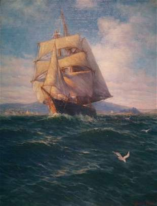 James Gale Tyler 1855-1931 Schooner, under Full S
