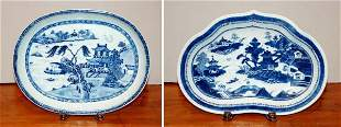 Two Chinese Export Blue and White Porcelain Dishe