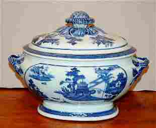 Nanking Blue and White Porcelain Oval Tureen