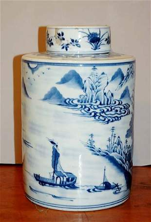 Chinese Export Blue and White Porcelain Cylindric