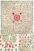 Appliqued and Trapunto Pictorial Cotton Quilt