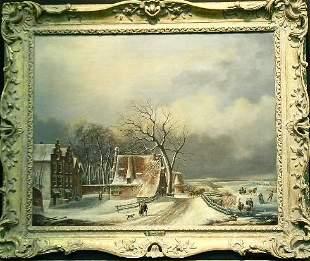 A. Smits Dutch, 19th century VILLAGERS ON FROZEN