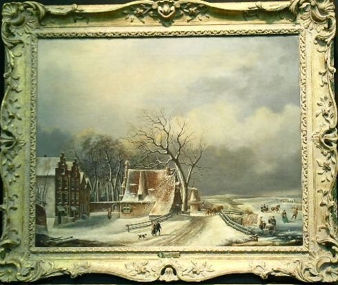 2011: A. Smits Dutch, 19th century VILLAGERS ON FROZEN
