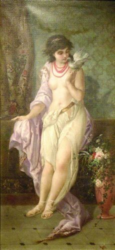 Angelo Asti French, 1847-1903 WOMAN WITH DOVE