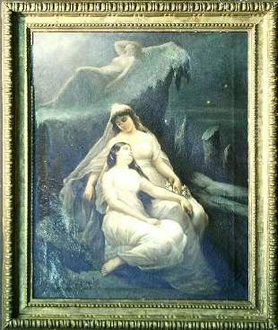 French School 19th Century THREE MAIDENS IN MOONL