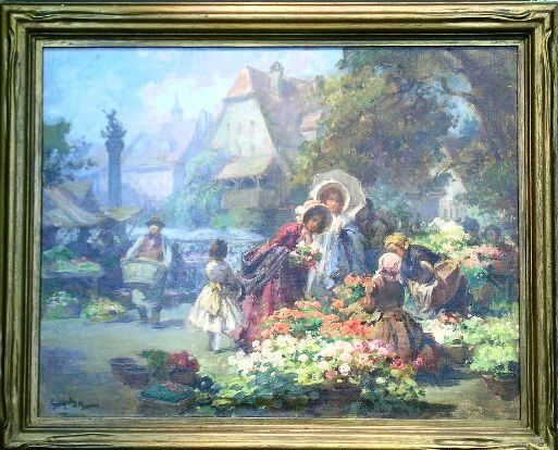 Imre Gergely Hungarian, b.1868 THE FLOWER MARKET
