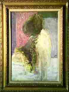 Louis Fabien French, b.1924 NU A PARAVENT ROSE
