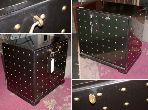 3207: Pair of Metal Studded Black Lacquered Side Cabine