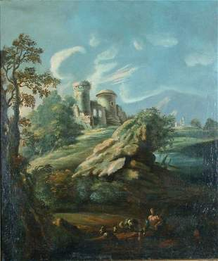 Manner of van Bloemen LANDSCAPE WITH RUINS AND SHEP