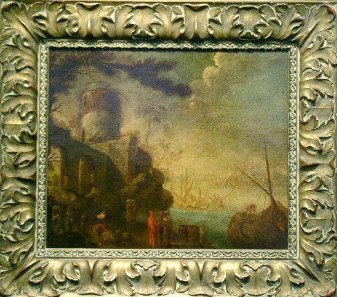 21: Italian School 18th Century FIGURES IN A PORT