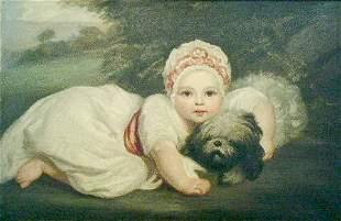 Follower of Sir Joshua Reynolds CHILD WITH A DOG