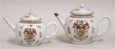 307 Two Chinese Export Armorial Porcelain Teapots