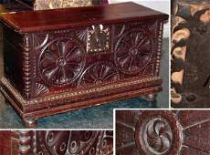 339 Continental Baroque Oak Blanket Chest