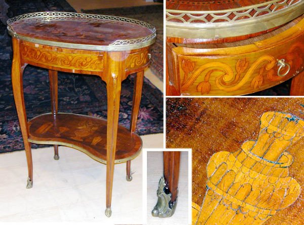 503: Transitional Louis XV/XVI Marquetry Inlaid Kingwoo