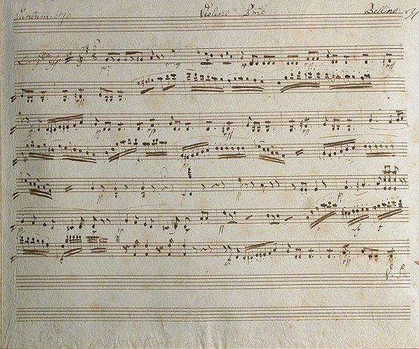 1001: BELLINI, VINCENZO Autograph manuscript,